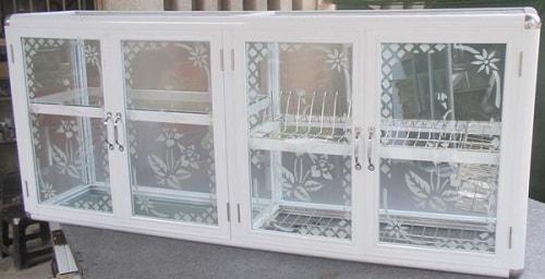 tủ bếp nhôm kính mini